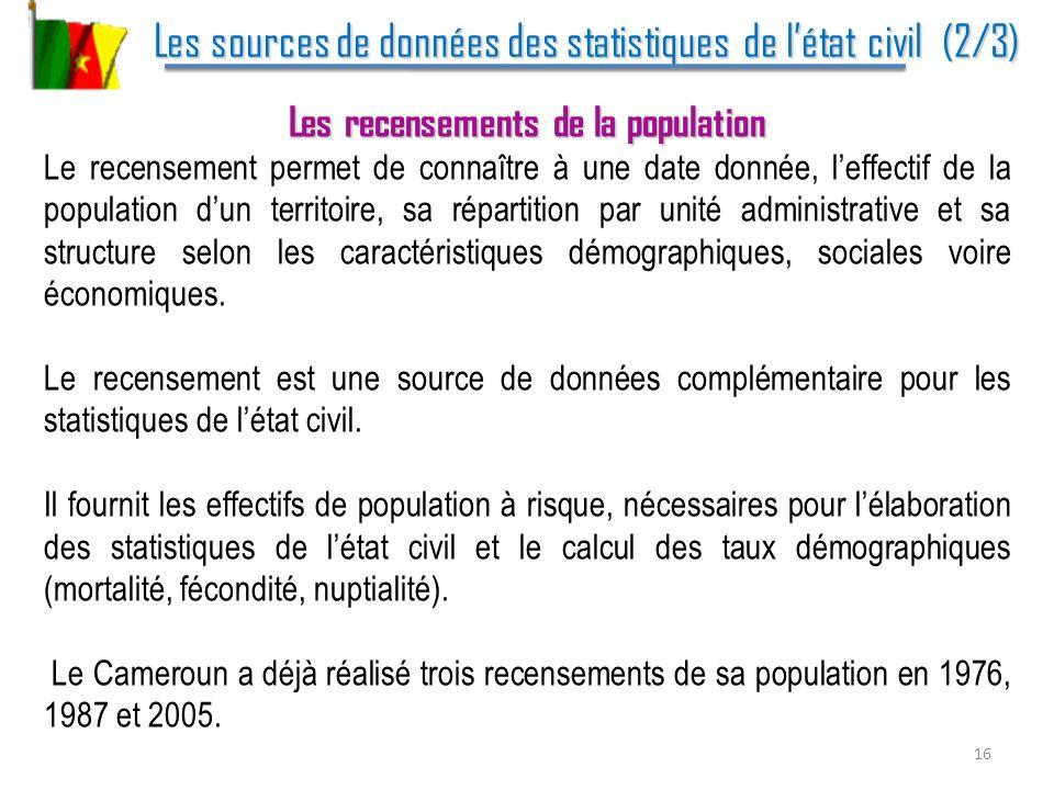 Les sources de données des statistiques de létat civil (2/3) Les sources de données des statistiques de létat civil (2/3) Les recensements de la popul