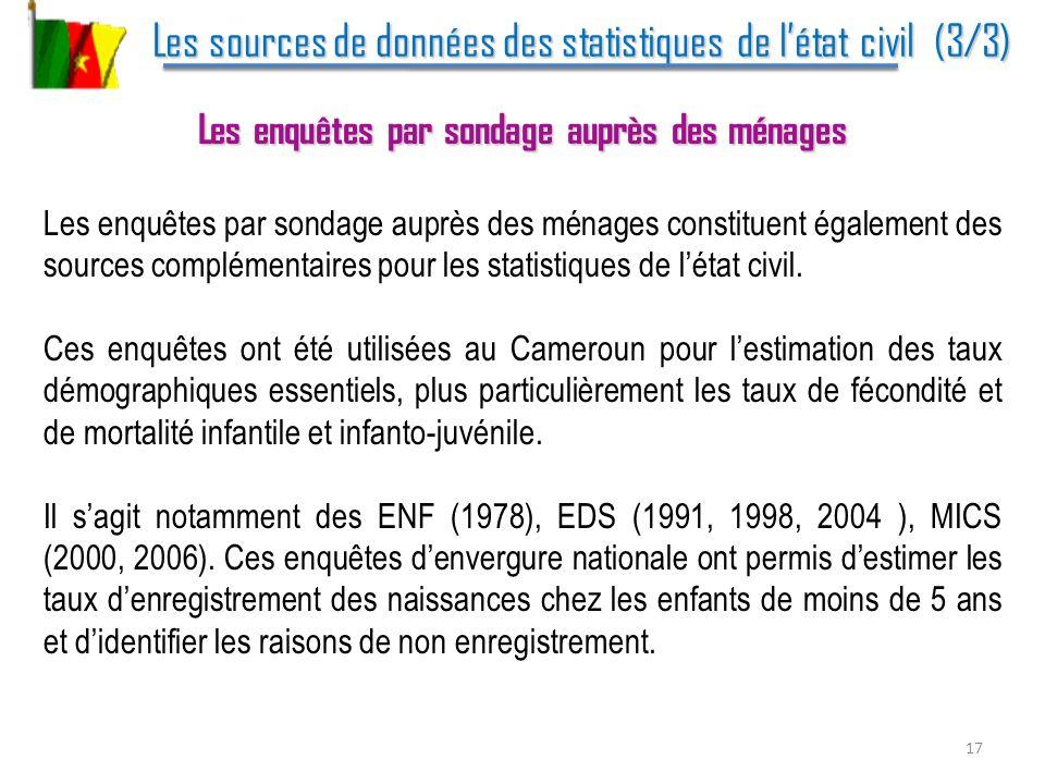 Les sources de données des statistiques de létat civil (3/3) Les sources de données des statistiques de létat civil (3/3) Les enquêtes par sondage aup