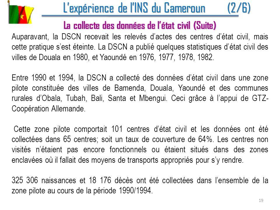 Lexpérience de lINS du Cameroun (2/6) Lexpérience de lINS du Cameroun (2/6) La collecte des données de létat civil (Suite) Auparavant, la DSCN recevai