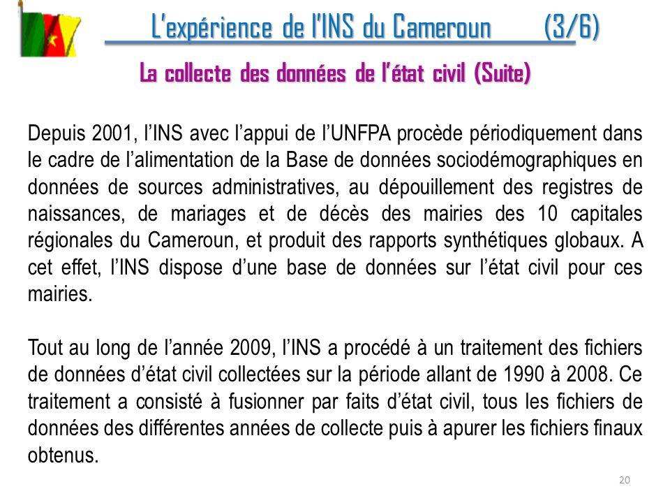 Lexpérience de lINS du Cameroun (3/6) Lexpérience de lINS du Cameroun (3/6) La collecte des données de létat civil (Suite) Depuis 2001, lINS avec lapp