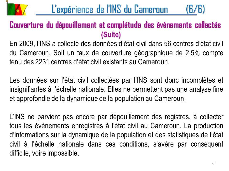 Lexpérience de lINS du Cameroun (6/6) Lexpérience de lINS du Cameroun (6/6) Couverture du dépouillement et complétude des évènements collectés (Suite)