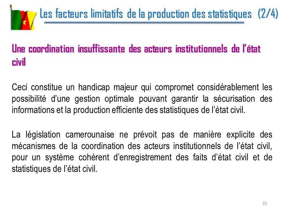 Les facteurs limitatifs de la production des statistiques (2/4) Les facteurs limitatifs de la production des statistiques (2/4) Une coordination insuf
