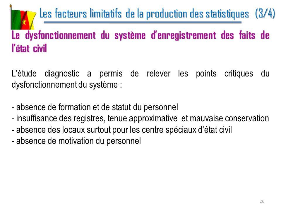 Les facteurs limitatifs de la production des statistiques (3/4) Les facteurs limitatifs de la production des statistiques (3/4) Le dysfonctionnement d