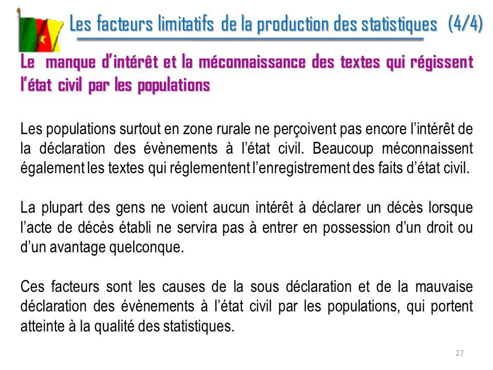Les facteurs limitatifs de la production des statistiques (4/4) Les facteurs limitatifs de la production des statistiques (4/4) Le manque dintérêt et