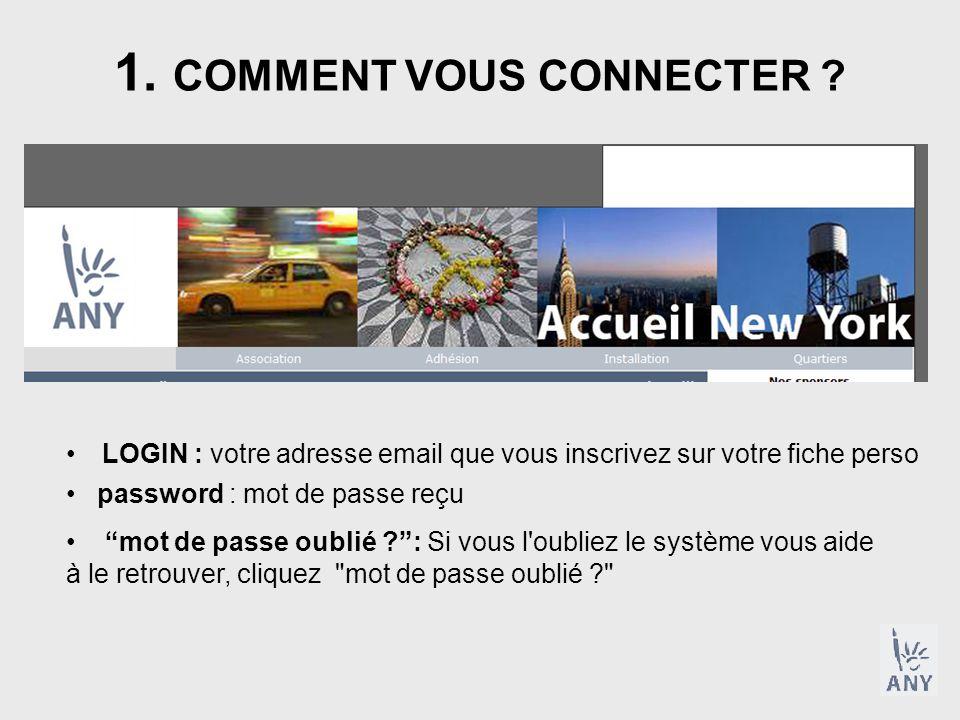 1. COMMENT VOUS CONNECTER .
