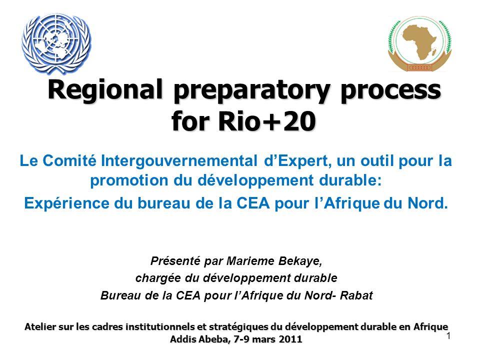 Regional preparatory process for Rio+20 Le Comité Intergouvernemental dExpert, un outil pour la promotion du développement durable: Expérience du bureau de la CEA pour lAfrique du Nord.