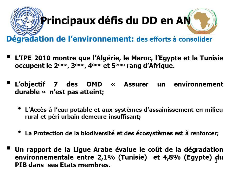 Principaux défis du DD en AN Dégradation de lenvironnement: des efforts à consolider LIPE 2010 montre que lAlgérie, le Maroc, lEgypte et la Tunisie occupent le 2 ème, 3 ème, 4 ème et 5 ème rang dAfrique.