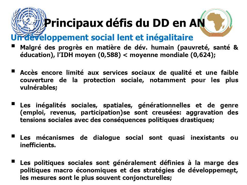 Un développement social lent et inégalitaire Malgré des progrès en matière de dév.