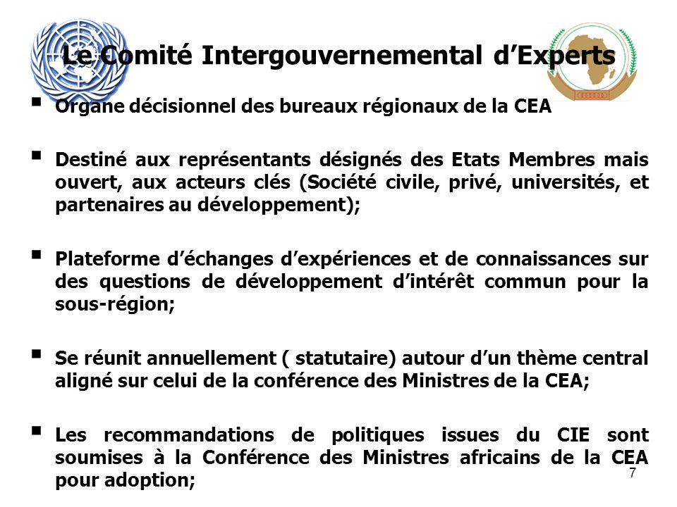 Le Comité Intergouvernemental dExperts Organe décisionnel des bureaux régionaux de la CEA Destiné aux représentants désignés des Etats Membres mais ouvert, aux acteurs clés (Société civile, privé, universités, et partenaires au développement); Plateforme déchanges dexpériences et de connaissances sur des questions de développement dintérêt commun pour la sous-région; Se réunit annuellement ( statutaire) autour dun thème central aligné sur celui de la conférence des Ministres de la CEA; Les recommandations de politiques issues du CIE sont soumises à la Conférence des Ministres africains de la CEA pour adoption; 7