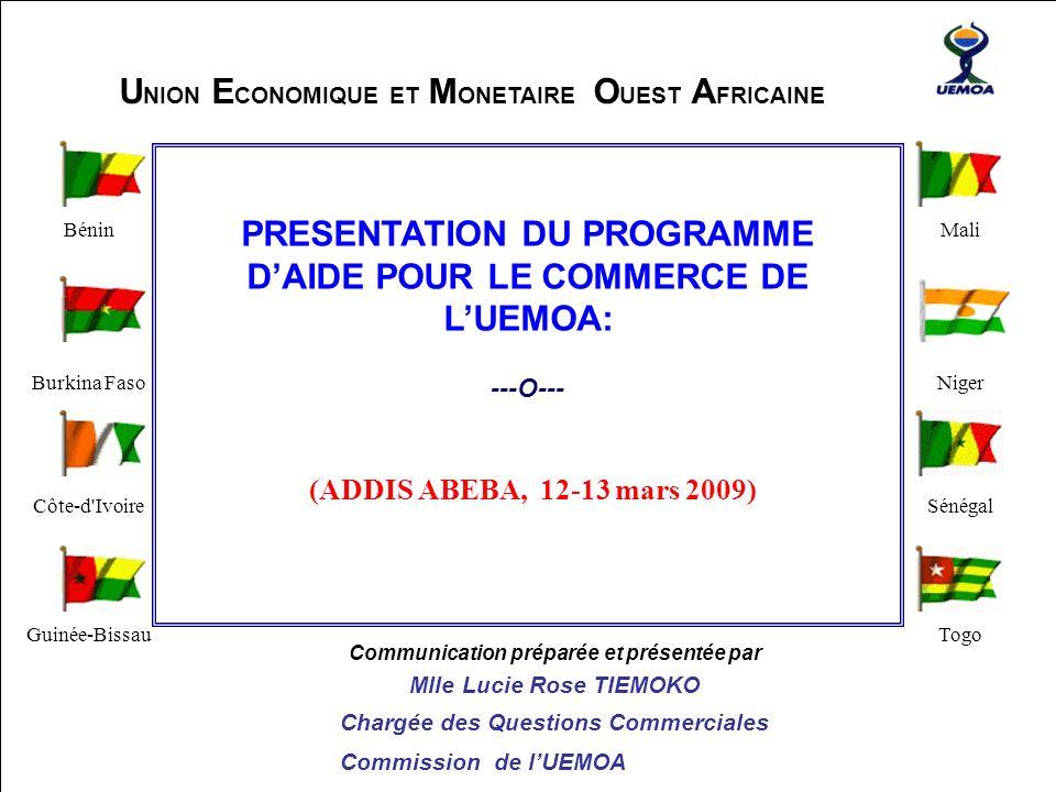 La Commission de l'UEMOA ---O--- Bénin Burkina Faso Côte-d'Ivoire Guinée-Bissau Mali Niger Sénégal Togo Communication préparée et présentée par Mlle L