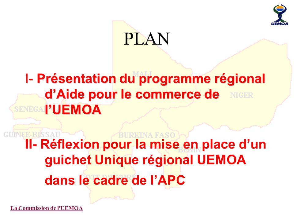 La Commission de l'UEMOA PLAN I- Présentation du programme régional dAide pour le commerce de lUEMOA II- Réflexion pour la mise en place dun guichet U