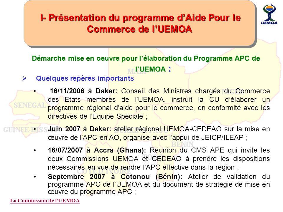 La Commission de l'UEMOA Démarche mise en oeuvre pour lélaboration du Programme APC de lUEMOA : Quelques repères importants 16/11/2006 à Dakar: Consei