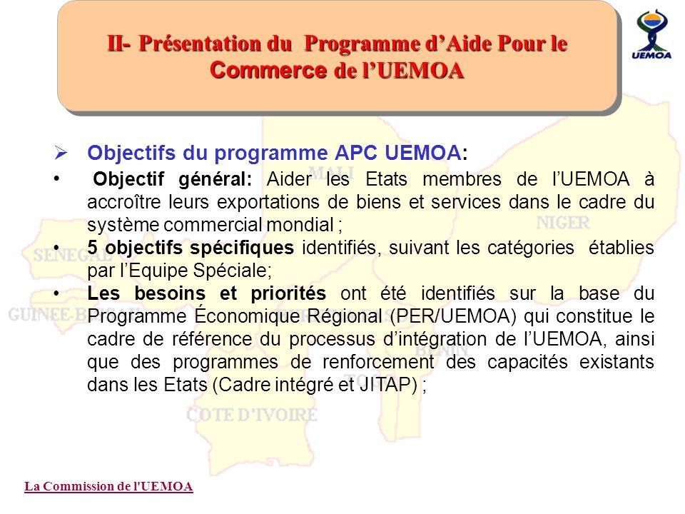 La Commission de l'UEMOA Objectifs du programme APC UEMOA: Objectif général: Aider les Etats membres de lUEMOA à accroître leurs exportations de biens