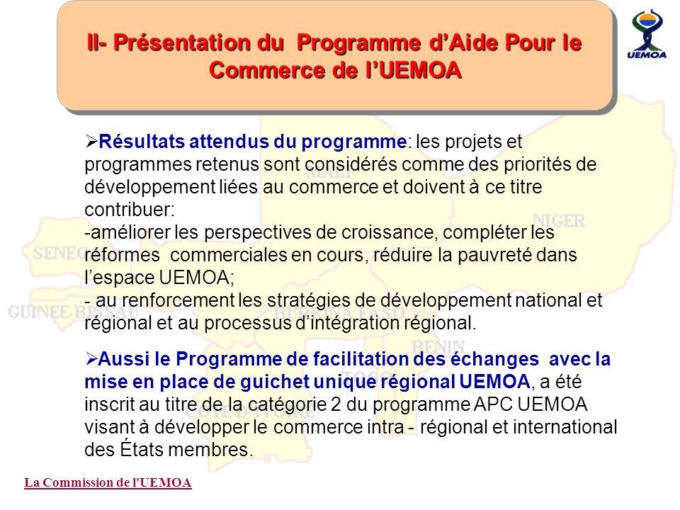 La Commission de l'UEMOA II- Présentation du Programme dAide Pour le Commerce de lUEMOA Résultats attendus du programme: les projets et programmes ret