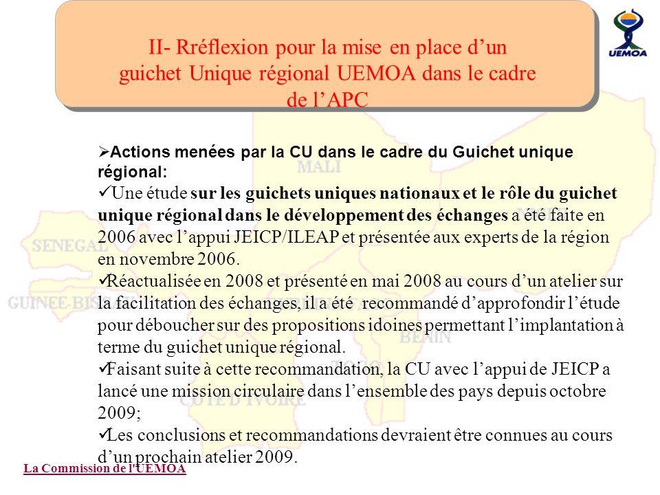 La Commission de l'UEMOA II- Rréflexion pour la mise en place dun guichet Unique régional UEMOA dans le cadre de lAPC Actions menées par la CU dans le