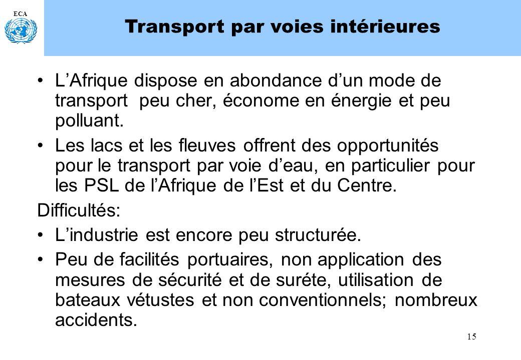 15 ECA Transport par voies intérieures LAfrique dispose en abondance dun mode de transport peu cher, économe en énergie et peu polluant. Les lacs et l