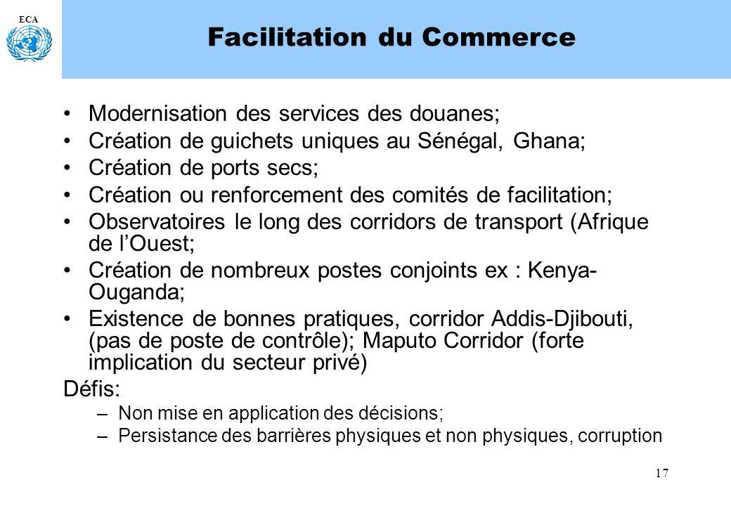 17 ECA Facilitation du Commerce Modernisation des services des douanes; Création de guichets uniques au Sénégal, Ghana; Création de ports secs; Créati