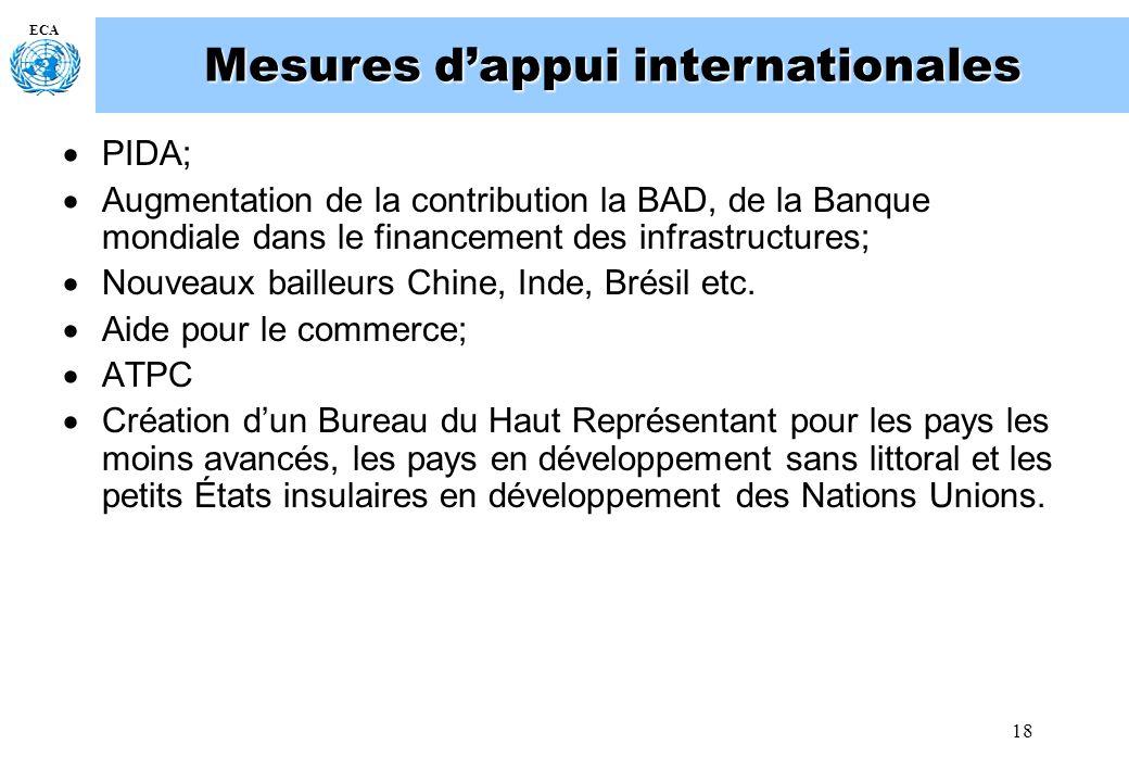 18 ECA Mesures dappui internationales PIDA; Augmentation de la contribution la BAD, de la Banque mondiale dans le financement des infrastructures; Nou
