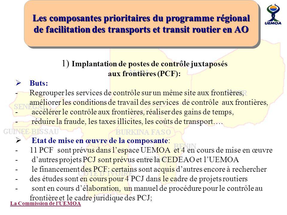 La Commission de l'UEMOA 1) Implantation de postes de contrôle juxtaposés aux frontières (PCF): Buts: -Regrouper les services de contrôle sur un même