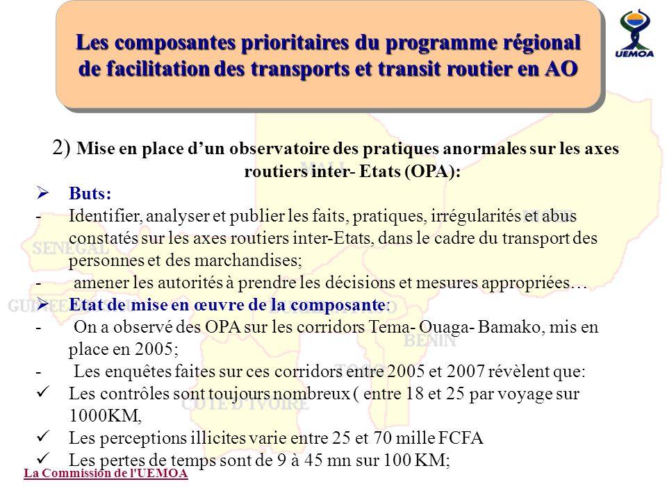 La Commission de l'UEMOA 2) Mise en place dun observatoire des pratiques anormales sur les axes routiers inter- Etats (OPA): Buts: -Identifier, analys