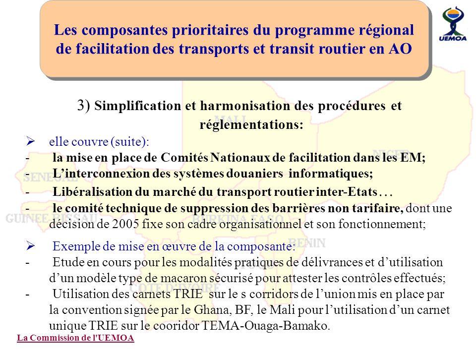 La Commission de l'UEMOA 3) Simplification et harmonisation des procédures et réglementations: elle couvre (suite): - la mise en place de Comités Nati
