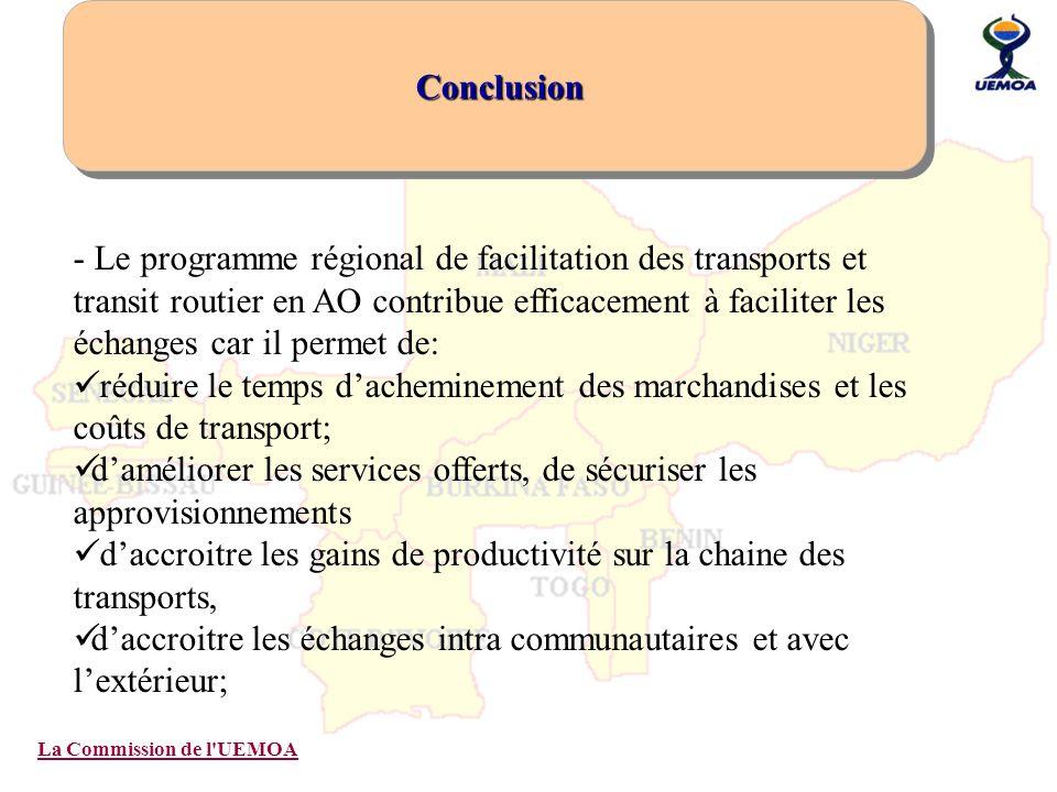 La Commission de l'UEMOA Conclusion - Le programme régional de facilitation des transports et transit routier en AO contribue efficacement à faciliter