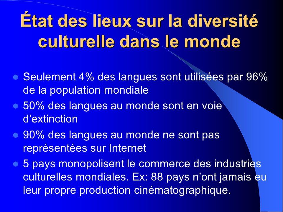 État des lieux sur la diversité culturelle dans le monde Seulement 4% des langues sont utilisées par 96% de la population mondiale 50% des langues au monde sont en voie dextinction 90% des langues au monde ne sont pas représentées sur Internet 5 pays monopolisent le commerce des industries culturelles mondiales.