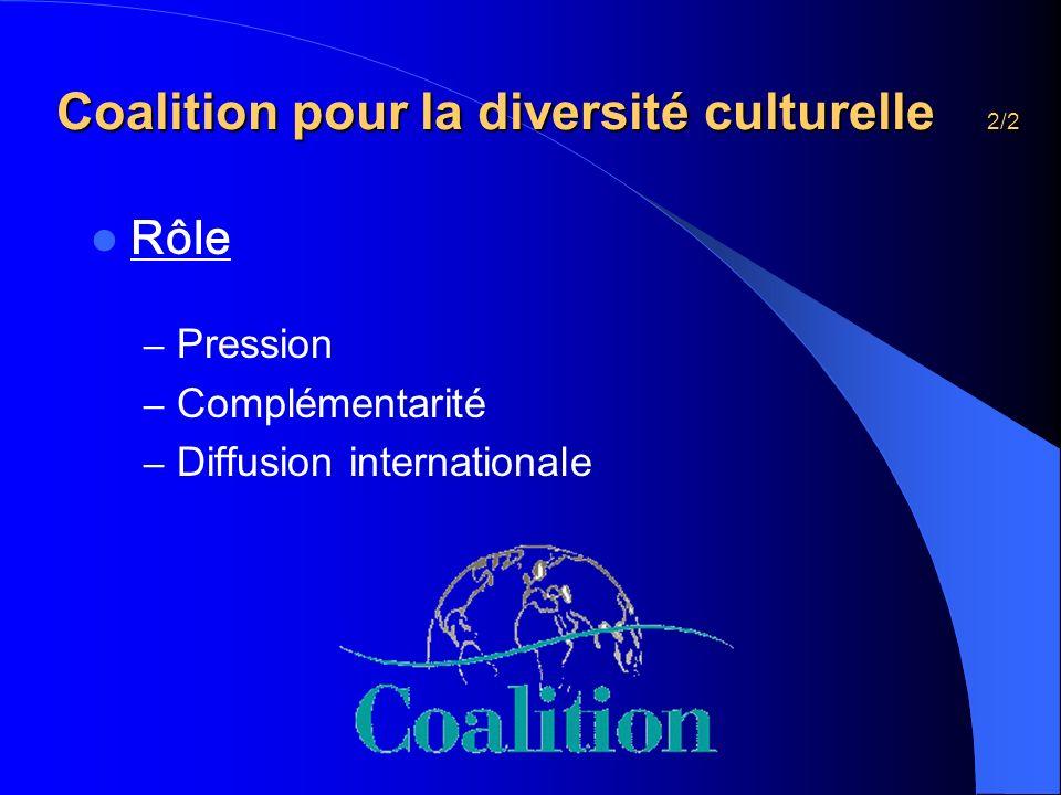 Coalition pour la diversité culturelle 2/2 Coalition pour la diversité culturelle 2/2 Rôle – Pression – Complémentarité – Diffusion internationale