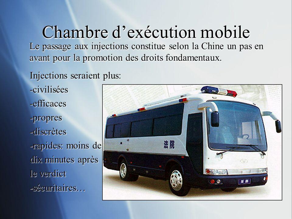 Chambre dexécution mobile Le passage aux injections constitue selon la Chine un pas en avant pour la promotion des droits fondamentaux.