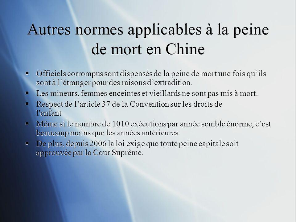Autres normes applicables à la peine de mort en Chine Officiels corrompus sont dispensés de la peine de mort une fois quils sont à létranger pour des raisons dextradition.