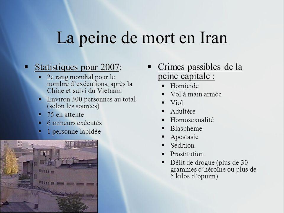 La peine de mort en Iran Statistiques pour 2007: 2e rang mondial pour le nombre dexécutions, après la Chine et suivi du Vietnam Environ 300 personnes au total (selon les sources) 75 en attente 6 mineurs exécutés 1 personne lapidée Statistiques pour 2007: 2e rang mondial pour le nombre dexécutions, après la Chine et suivi du Vietnam Environ 300 personnes au total (selon les sources) 75 en attente 6 mineurs exécutés 1 personne lapidée Crimes passibles de la peine capitale : Homicide Vol à main armée Viol Adultère Homosexualité Blasphème Apostasie Sédition Prostitution Délit de drogue (plus de 30 grammes dhéroïne ou plus de 5 kilos dopium)