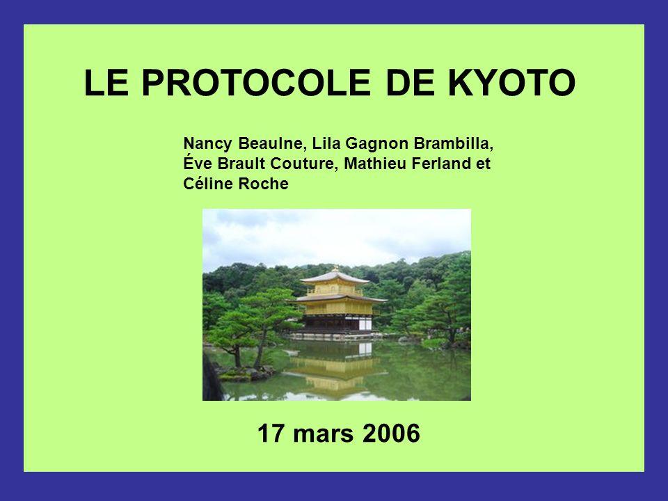 Sites et documents: Secrétariat des Nations-unies sur les changements climatiques: http://unfccc.int/portal_francophone/items/3072.php http://unfccc.int/portal_francophone/items/3072.php Organisation météorologique mondiale (OMM) : http://www.wmo.ch/index-fr.htmlhttp://www.wmo.ch/index-fr.html Greenpeace-Canada : http://www.greenpeace.ca/http://www.greenpeace.ca/ Gouvernement du Canada, Le Canada et le Protocole de Kyoto : http://www.climatechange.gc.ca/french/http://www.climatechange.gc.ca/french/ Gouvernement du Canada, le portail SD info : http://www.sdinfo.gc.ca/main_f.cfm Gouvernement du Québec, Protocole de Kyoto : http://www.menv.gouv.qc.ca/changements/kyoto/index.htm http://www.menv.gouv.qc.ca/changements/kyoto/index.htm Confédération suisse, Protocole de Kyoto : http://www.uvek.admin.ch/dokumentation/00474/00492/?lang=fr&msg-id=763 Dossier de Radio-Canada sur Kyoto : http://radio-canada.ca/nouvelles/dossiers/kyoto/http://radio-canada.ca/nouvelles/dossiers/kyoto/ Wikipédia, l encyclopédie libre : http://fr.wikipedia.org/wiki/Protocole_de_Kyotohttp://fr.wikipedia.org/wiki/Protocole_de_Kyoto