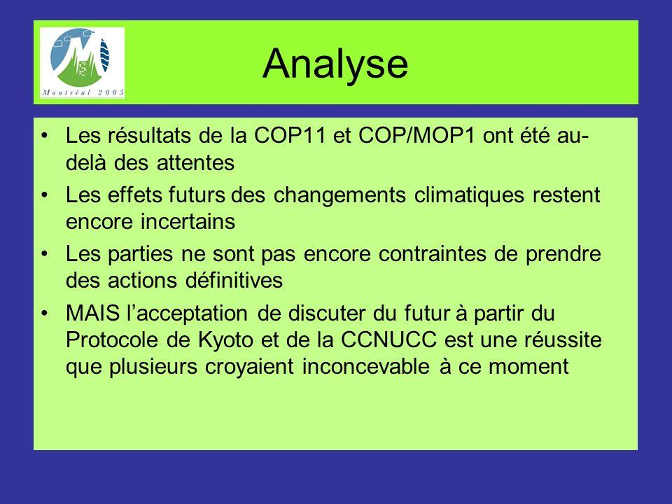 Analyse Les résultats de la COP11 et COP/MOP1 ont été au- delà des attentes Les effets futurs des changements climatiques restent encore incertains Le