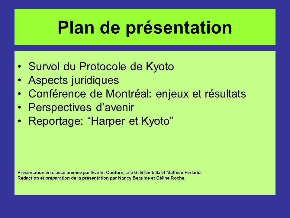 Plan de présentation Survol du Protocole de Kyoto Aspects juridiques Conférence de Montréal: enjeux et résultats Perspectives davenir Reportage: Harpe