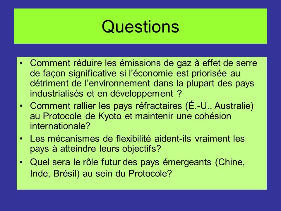 Questions Comment réduire les émissions de gaz à effet de serre de façon significative si léconomie est priorisée au détriment de lenvironnement dans