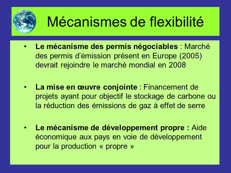 Mécanismes de flexibilité Le mécanisme des permis négociables : Marché des permis démission présent en Europe (2005) devrait rejoindre le marché mondi