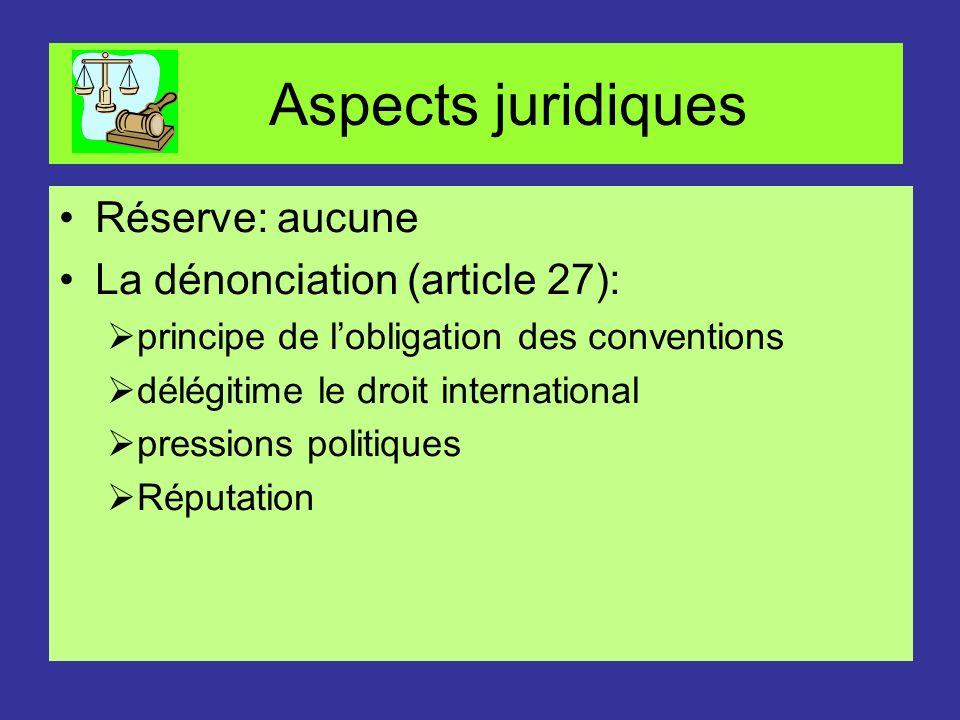 Aspects juridiques Réserve: aucune La dénonciation (article 27): principe de lobligation des conventions délégitime le droit international pressions p