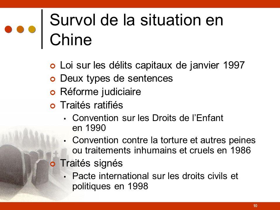 10 Survol de la situation en Chine Loi sur les délits capitaux de janvier 1997 Deux types de sentences Réforme judiciaire Traités ratifiés Convention