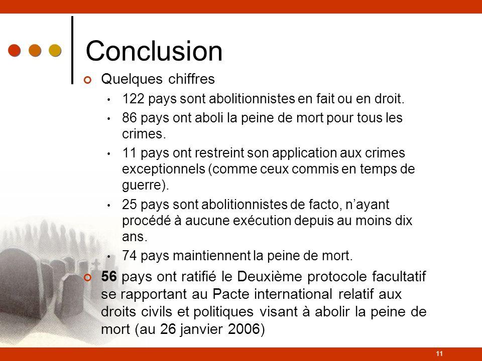 11 Conclusion Quelques chiffres 122 pays sont abolitionnistes en fait ou en droit.