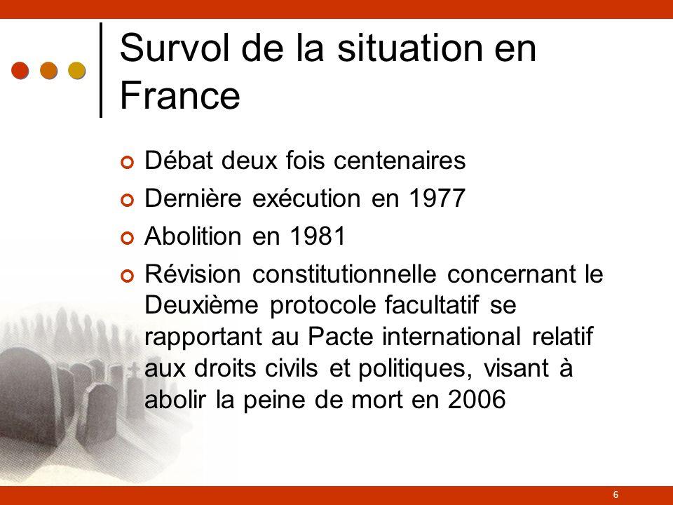 6 Survol de la situation en France Débat deux fois centenaires Dernière exécution en 1977 Abolition en 1981 Révision constitutionnelle concernant le Deuxième protocole facultatif se rapportant au Pacte international relatif aux droits civils et politiques, visant à abolir la peine de mort en 2006