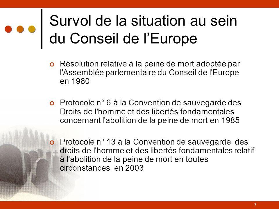 7 Survol de la situation au sein du Conseil de lEurope Résolution relative à la peine de mort adoptée par l Assemblée parlementaire du Conseil de l Europe en 1980 Protocole n° 6 à la Convention de sauvegarde des Droits de l homme et des libertés fondamentales concernant l abolition de la peine de mort en 1985 Protocole n° 13 à la Convention de sauvegarde des droits de l homme et des libertés fondamentales relatif à labolition de la peine de mort en toutes circonstances en 2003