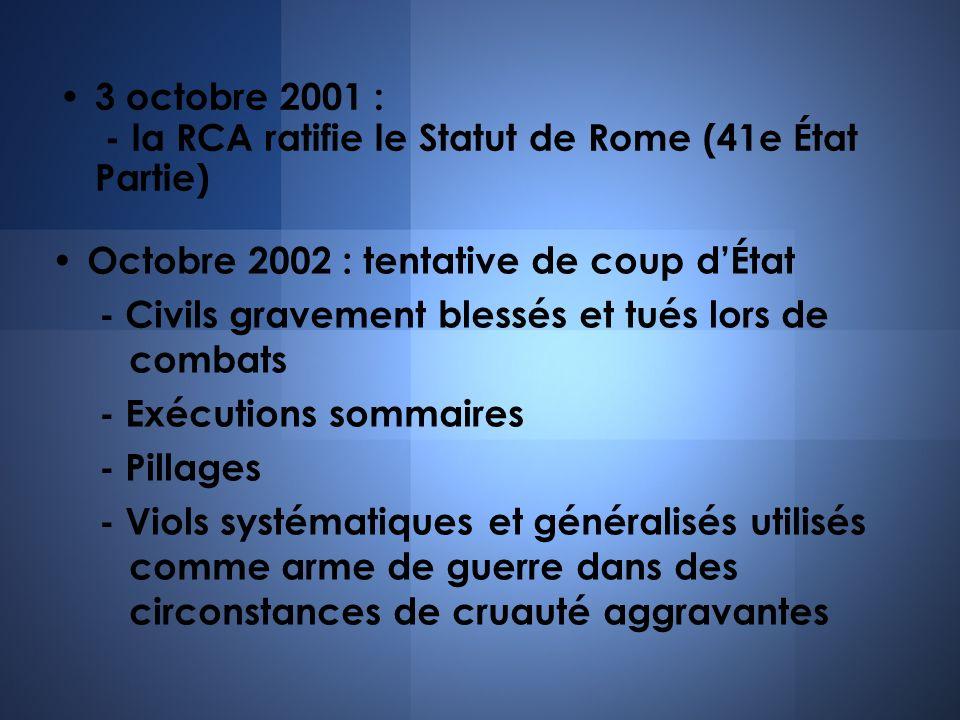 Octobre 2002 : tentative de coup dÉtat - Civils gravement blessés et tués lors de combats - Exécutions sommaires - Pillages - Viols systématiques et g