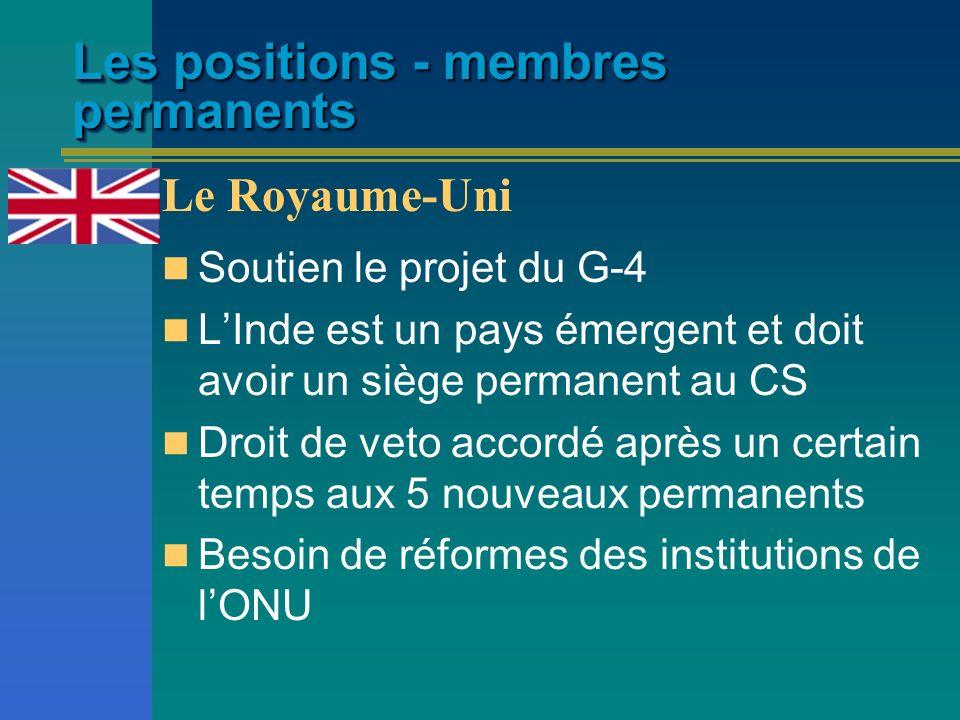 Les positions - membres permanents Soutien le projet du G-4 LInde est un pays émergent et doit avoir un siège permanent au CS Droit de veto accordé ap