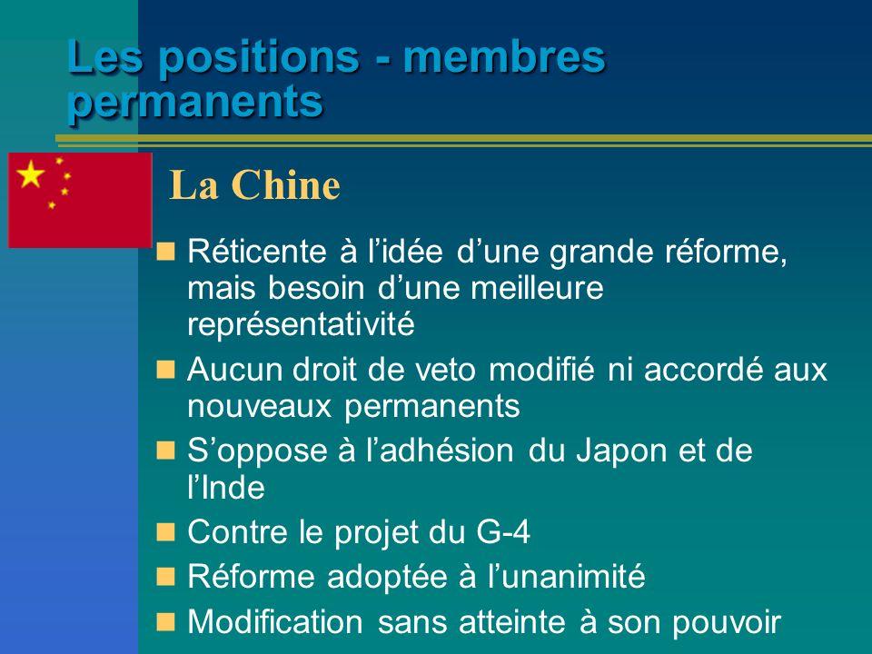 Les positions - membres permanents Réticente à lidée dune grande réforme, mais besoin dune meilleure représentativité Aucun droit de veto modifié ni a