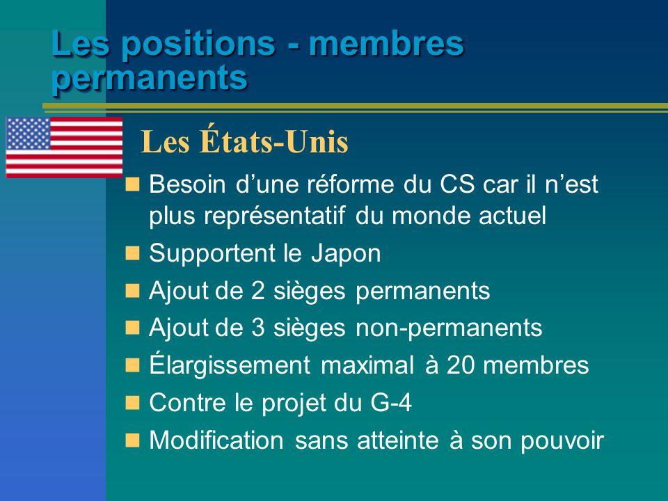 Les positions - membres permanents Besoin dune réforme du CS car il nest plus représentatif du monde actuel Supportent le Japon Ajout de 2 sièges perm