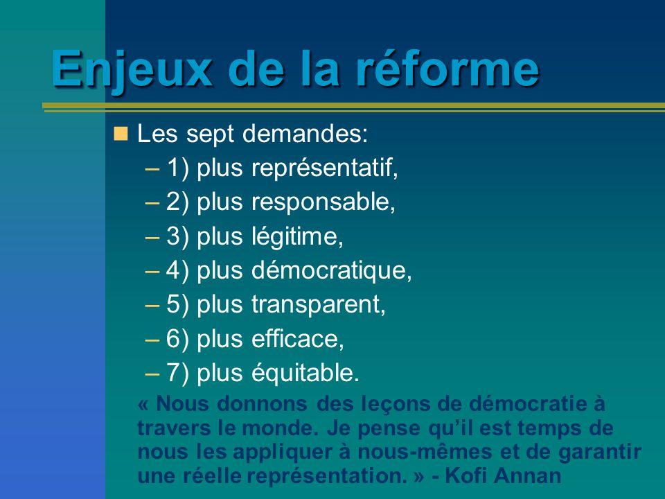 Enjeux de la réforme Les sept demandes: –1) plus représentatif, –2) plus responsable, –3) plus légitime, –4) plus démocratique, –5) plus transparent,