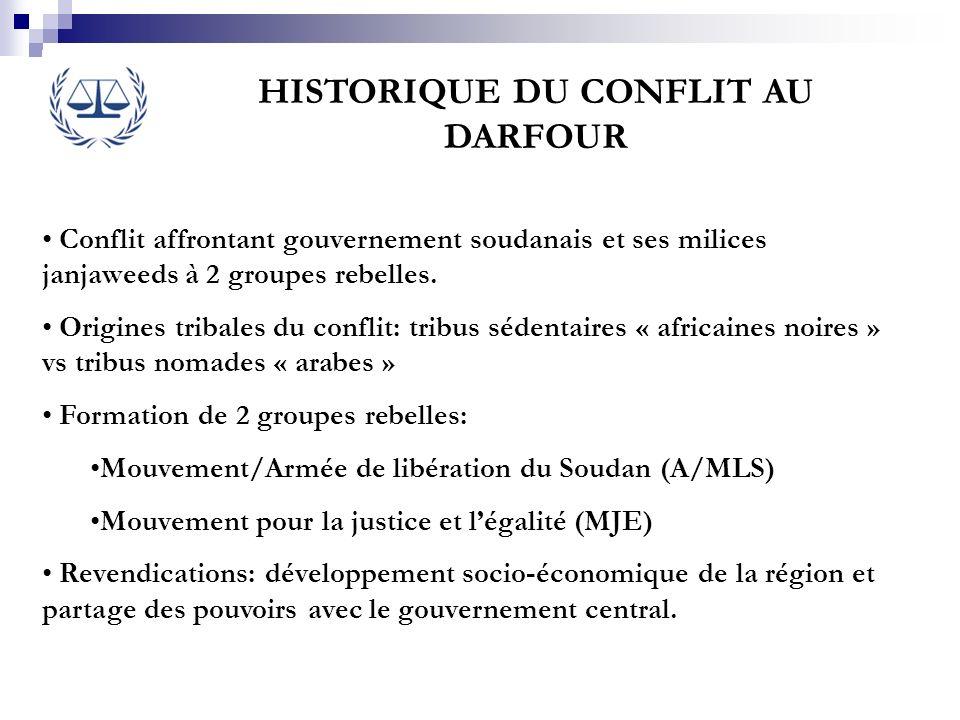 HISTORIQUE DU CONFLIT AU DARFOUR Conflit affrontant gouvernement soudanais et ses milices janjaweeds à 2 groupes rebelles. Origines tribales du confli