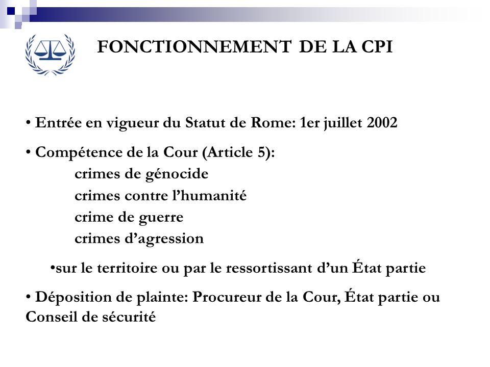 FONCTIONNEMENT DE LA CPI Entrée en vigueur du Statut de Rome: 1er juillet 2002 Compétence de la Cour (Article 5): crimes de génocide crimes contre lhu