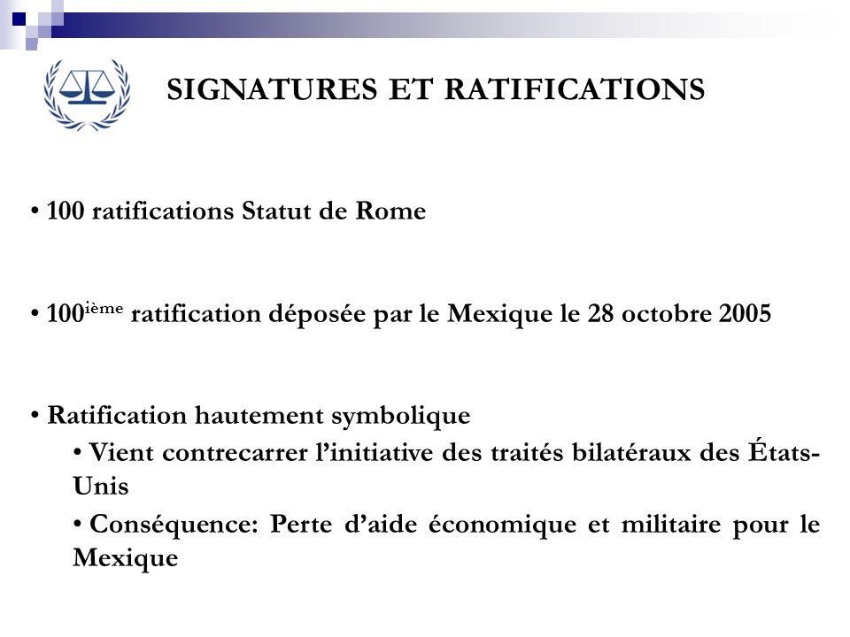 SIGNATURES ET RATIFICATIONS 100 ratifications Statut de Rome 100 ième ratification déposée par le Mexique le 28 octobre 2005 Ratification hautement sy