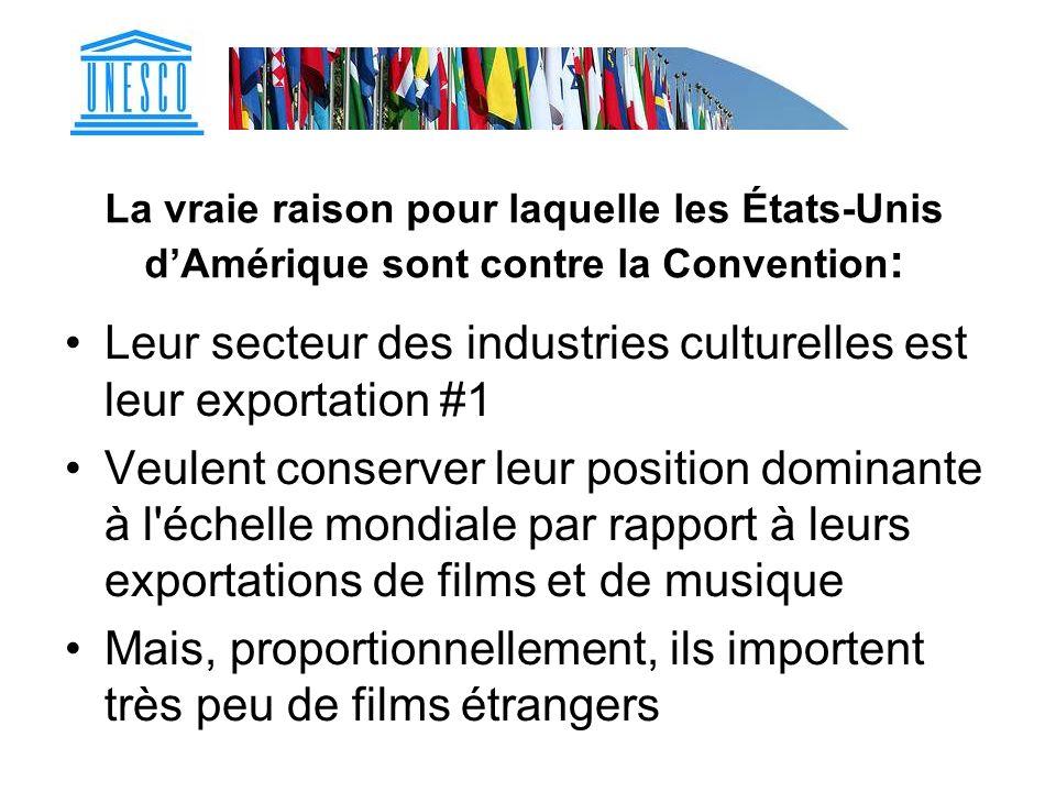 La vraie raison pour laquelle les États-Unis dAmérique sont contre la Convention : Leur secteur des industries culturelles est leur exportation #1 Veu